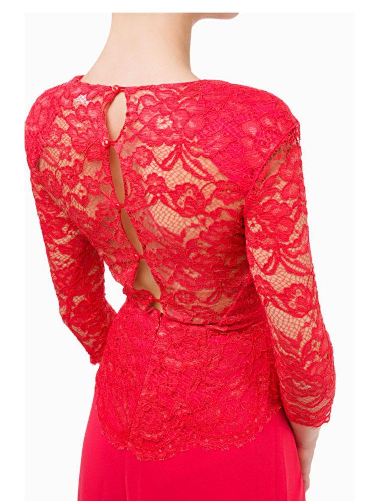 Vestido Cuerpo Encaje Largo Rojo Elisabetta Franchi